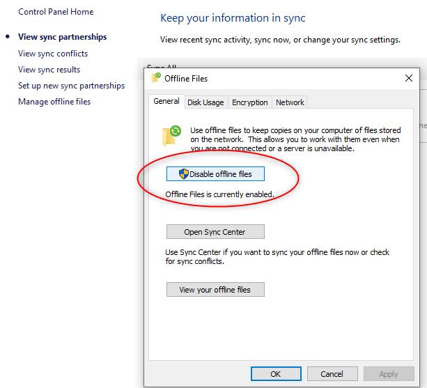 Enable Offline Files and Folders Between Windows Server 2019