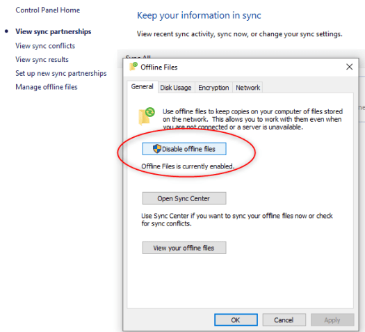 Enable Offline Files and Folders Between Windows Server 2019