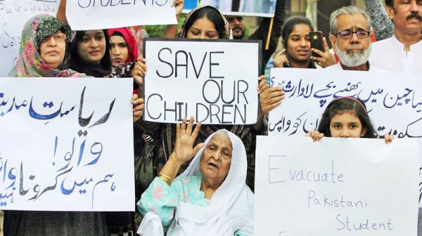 Parents protest as Pakistani students stuck in China under lockdown