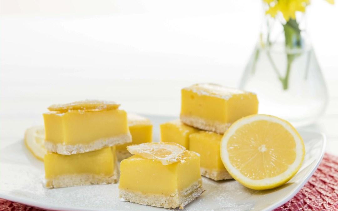 Sunshine Lemon Squares with a Ginger Shortbread Crust