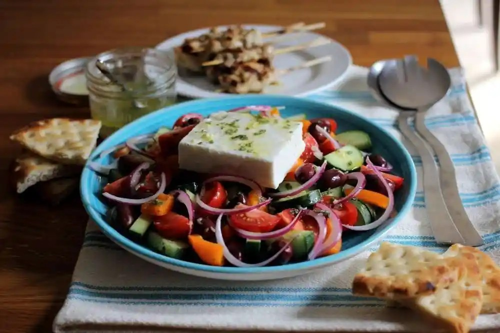 2-for-1 Greek Take-out Salad with Easy Chicken Souvlaki