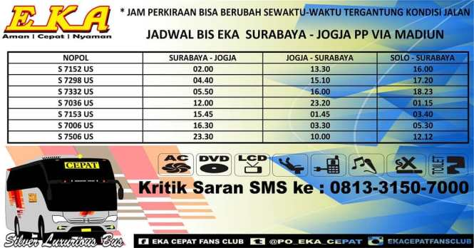 Jadwal Keberangkatan Bus Eka Cepat Dan Harga Tiket Upate
