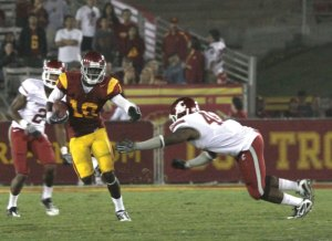 The long ball · Junior receiver Damian Williams caught a 57-yard touchdown pass from Matt Barkley in the first quarter. The Trojan offense was firing on all cylinders early, but it could not maintain its hot start. - Mike Lee | Daily Trojan