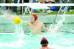 Stingy defense · Sophomore Joel Dennerley, one of three goalies who saw action this weekend, help hold four opponents to 18 goals. - Photo courtesy of USC Sports Information