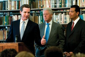 A boost · Former president Bill Clinton endorsed San Francisco Mayor and gubernatorial candidate Gavin Newsom in a speech Monday. - Nathaniel Gonzalez | Daily Trojan