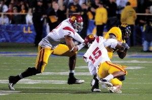 On cue · Kevin Thomas had one of three interceptions Wednesday. - Brandon Hui | Daily Trojan