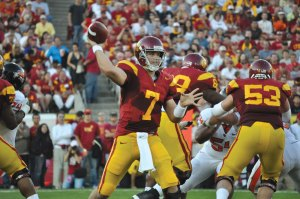 Above the noise · Freshman quarterback Matt Barkley has had plenty of experience in front of big crowds, keeping his cool in Ohio Stadium and again in Notre Dame Stadium. Oregon presents another challenge. - Mannat Saini | Daily Trojan