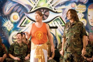 Earth, wind and fire · A new-age Jeff Bridges (center) and George Clooney (right) hone their psychic abilities as members of a special branch of the US Army in The Men Who Stare at Goats. The film, which is directed by Good Night, and Good Luck writer-producer George Heslov, is based on British journalist Jon Ronson's nonfiction novel about spiritual military concepts. - Photo courtesy of Overture Films