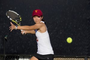 Holding serve · In addition to her doubles win with sophomore Giuliana Olmos, senior Danielle Lao won her finals singles match 6-1, 6-4. - Joseph Chen | Daily Trojan