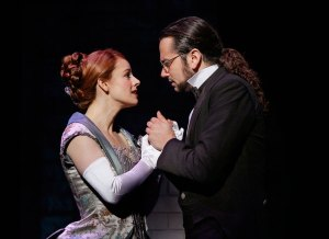 It's complicated · Emma Carew (Teal Wicks) embraces Henry Jekyll (Constantine Maroulis).  Carew, the love interest of Dr. Jekyll, eventually becomes the hostage of Jekyll's split personality, the evil Mr. Hyde. - Courtesy of Sacks & Co.