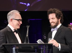 And the winner is · Journalist Joshuah Bearman (right) who wrote the magazine article that served as a basis for Argo, accepted the Scripter Award for the film. Other nominees included Stephen Chobsky of The Perks of Being a Wallflower as well as the writers of Life of Pi and Silver Linings PlayBook. - Ralf Cheung   Daily Trojan