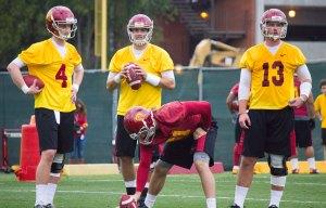 Quarterback controversy· Incoming freshman quarterback Max Browne (No. 4) enters a tightly contested quarterback battle against sophomore incumbents Max Wittek and Cody Kessler. — Joseph Chen | Daily Trojan
