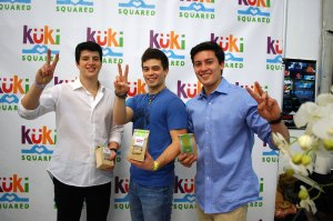 Sweet cause  · Founders Barak Federman (left) and Alexander Evans-Pfeiffer (right) promote Kuki Squared with Disney star Damien Haas (center). - Courtesy of Lena Evans