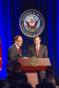 Gen. David H. Petraeus, pictured with President C. L. Max Nikias above, will join USC's faculty. — Austin Vogel | Daily Trojan