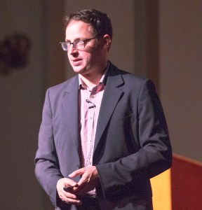 Numbers game · Writer and statistician Nate Silver speaks to students about the process of predicting outcomes on Friday at Bovard Auditorium. - Ralf Cheung | Daily Trojan