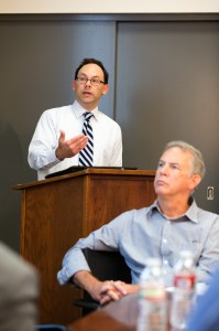 Global view · Richard Wike, associate director of Pew Research Center's Global Attitudes Project, speaks as Professor Robert Banks looks on. - Ralf Cheung | Daily Trojan