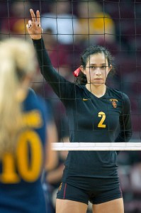 Stare down · USC sophomore outside hitter Samantha Bricio and the rest of the women's volleyball team face a tough Pac-12 foe in No. 11 UCLA. - Ralf Cheung | Daily Trojan