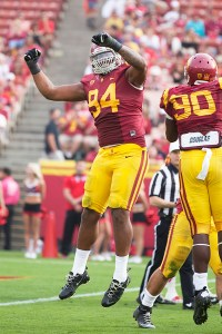 Dominant · USC sophomore defensive end Leonard Williams (94) has been vital to the Trojans' defense, posting a team-high 54 tackles. - Ralf Cheung | Daily Trojan