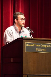 Reflecting · Interfraternity Council President Ofek Lavian speaks about the inevitability of drinking on Tuesday at the Ronald Tutor Campus Center. - Nick Entin | Daily Trojan