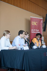 Healthy debate · Panelists at the Students Talk Back forum on Wednesday afternoon discuss the possible impacts of the Affordable Healthcare Act. Some of the act's policies went  into effect on Tuesday. - Ralf Cheung | Daily Trojan