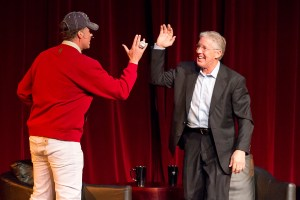 Ferrell and Carroll · Former USC head football coach and current head coach of the Super Bowl Champion Seattle Seahawks Pete Carroll exchanges a high-five with actor Will Ferrell. - Austin Vogel | Daily Trojan