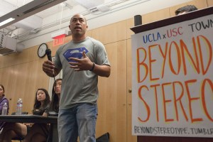 Superman · Troy Lau, a Ph.D. in higher education, spoke at the USC and UCLA joint town hall addressing a racist flier sent to both schools. - Ralf Cheung   Daily Trojan