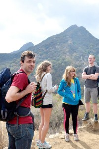 """Into the Wild · Professor Brian Bernards (left) hikes with students at Malibu Creek State park as part of the new club, """"Peaks and Professors."""" - Courtesy of Jack Koppa"""