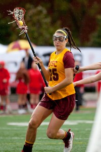 Sharp shooter · Sophomore attacker Caroline De Lyra scored four goals and notched two assists in USC's win over the Aztecs yesterday.  The Brightwaters, N.Y. native has scored 11 goals on the season. - Ralf Cheung | Daily Trojan