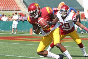Spring ballin' · Junior wide receiver Nelson Agholor, who caught one pass for 13 yards in USC's spring game last weekend, says he improved many aspects of his game during spring ball. The Tampa, Fla. native hauled in six touchdown passes last season and averaged 65.6 receiving yards per game. - Nick Entin | Daily Trojan