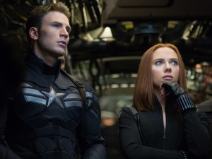 Oh captain! My captain! · Captain America (Chris Evans) and Black Widow (Scarlett Johansson) find themselves disillusioned with S.H.I.E.L.D. after the appearance of a mysterious new enemy in Captain America: The Winter Soldier, set to release April 4.   - Photo courtesy of Marvel Studios