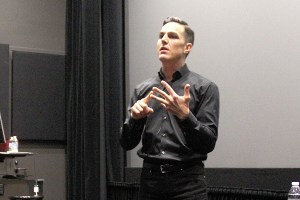 Challenge everything · Andrew Wilson, CEO of Electronic Arts, stresses the importance of forming visions out of opinions to audience members during Monday's event, which took place in the Interactive Media Building. - Christine Yoo | Daily Trojan