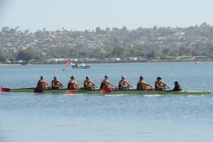 Row your boat · USC's first varsity eight topped Washington, Washington State, San Diego, Wisconsin and UCLA with a time of 6:38.61, to take home the Jessop-Whittier Cup at the 41st annual San Diego Crew Classic. - Courtesy of Peter Gleadow