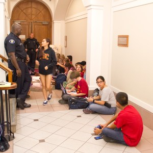 Sit-in for justice · Eighteen students from SCALE waited outside Nikias' office on Tuesday to negotiate ending business relations with JanSport. - Austin Vogel | Daily Trojan