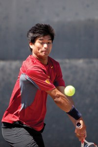 Final battle · Senior captain Ray Sarmiento will be one of two seniors honored today before singles play begins against crosstown rival UCLA. - Ralf Cheung | Daily Trojan