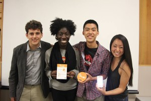 Sonny and share · (Left to right) Johnny Rusnak, Mo Alabi, Kevin Shen and Amy Kao work together on Shareful, an app that gives users credits to help a nonprofit after they eat at a participating restaurant. - Photo courtesy of Kevin Shen
