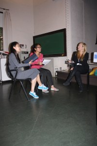 Pitches · Xiao Liang, a sophomore majoring in accounting (left) and Yingxin Chen, a junior majoring in business administration, pitch their ideas to Mindy Zemrak (right), the casting manager of Shark Tank. - Alison Brett | Daily Trojan