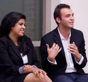 Dynamic duo · USG Vice President Rini Sampath (left) and President Andrew Menard (right) speak at a QuASA meeting last semester.  - Austin Vogel | Daily Trojan