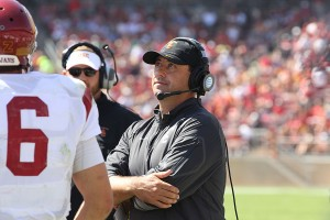 Sark raving mad · USC fans voiced their displeasure with head coach Steve Sarkisian's playcalling, but Daily Trojan columnist Luke Holthouse disagrees: Sarkisian called 46 passing plays to 29 rushing plays. - Nick Entin | Daily Trojan