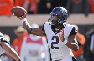TCU quarterback Trevone Boykin looks to lead the Horned Frog to an upset over No. 4 ranked Oklahoma. — Brody Schmidt | AP Photo