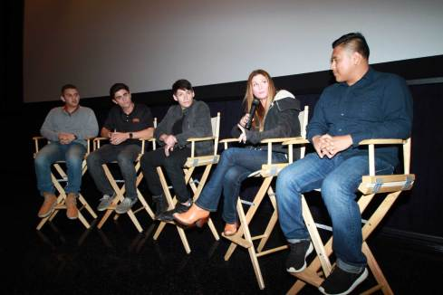 Left to right: Hector Gonzalez, Michael Tom, Carlos Pratts, Niki Caro and Ramiro Rodriguez hold a Q&A panel after the McFarland, USA screening. Photo courtesy of Andre Eric Martinez.