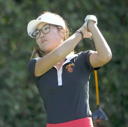 Putting in Palo Alto · Junior Karen Chung is currently tied for 39th place at the Stanford Invitational in Palo Alto. Chung, along with three of her teammates, shot three birdies on the second day of competition. - Photo courtesy of USC Sports Information