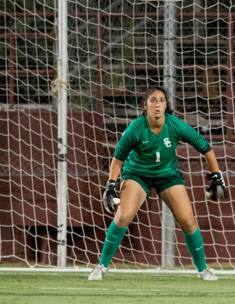 "Photo courtesy Sports Information ""A whole new level"" · Redshirt senior Sammy Jo Prudhomme earned Pac-12 Goalkeeper of the Week honors last week after consecutive shutouts."