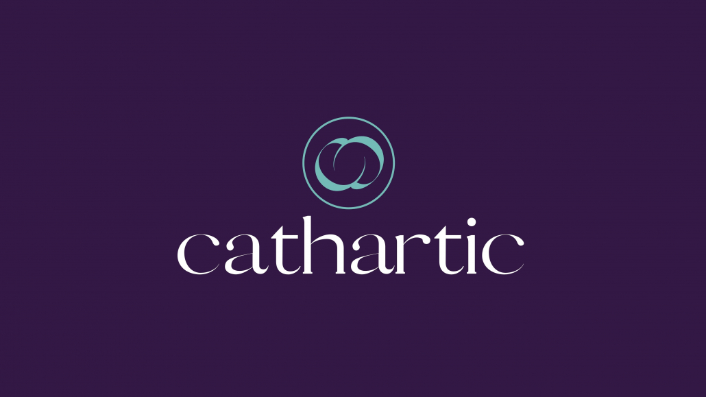 """Purple background color with """"cathartic"""" written in white text and the organization's logo in teal above it."""