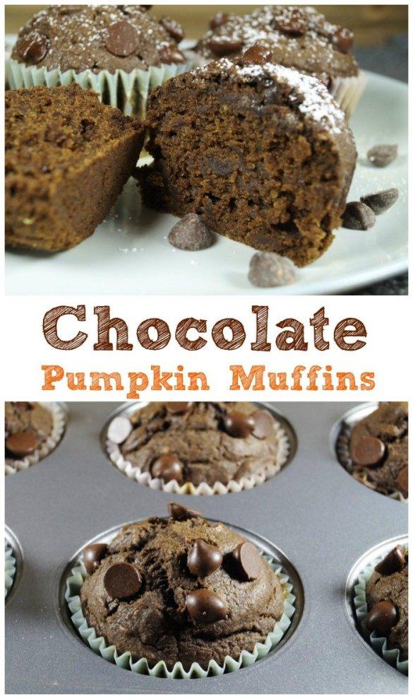 Chocolatey Vegan Pumpkin Muffins