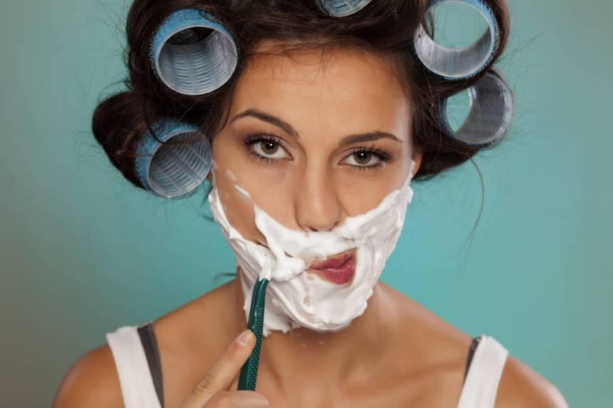 FACIAL hair, chin hair, woman shaving her face