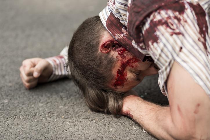 person bleeding