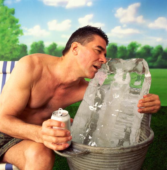 man licking ice