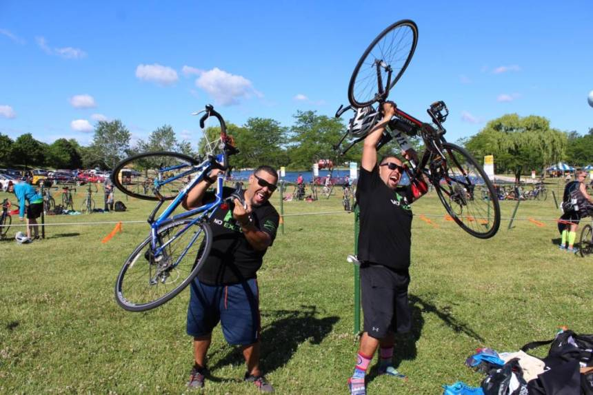 Twin brothers Roberto (left) and Luis Hernandez at a recent triathlon in Chicago.