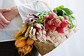 person hold basket of radishes and bulb vegetables on arm