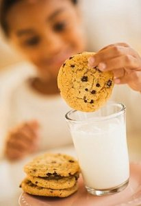 Little girl dunking chocolate chip cookie in milk